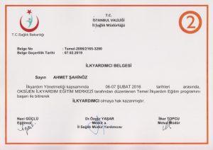İlkyardım sertifikası